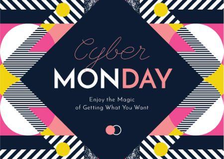 Plantilla de diseño de Cyber Monday Sale Announcement Postcard