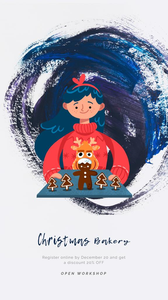 Girl with Christmas ginger cookies — Modelo de projeto