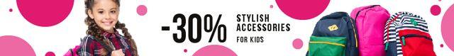 Modèle de visuel Kids Accessories Sale Smiling Schoolgirl with Backpack - Leaderboard