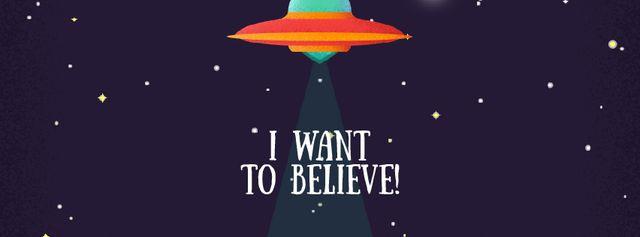 UFO abducting cow Facebook Video cover – шаблон для дизайну