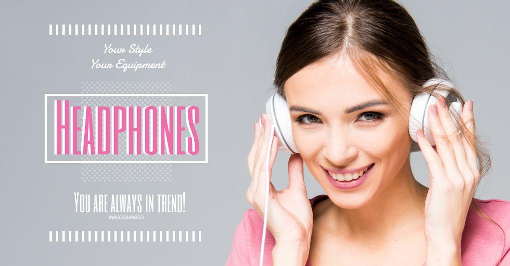 Headphones sale advertisement with smiling GIrl — Створити дизайн