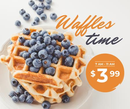 Ontwerpsjabloon van Facebook van Breakfast Offer Hot Delicious Waffles