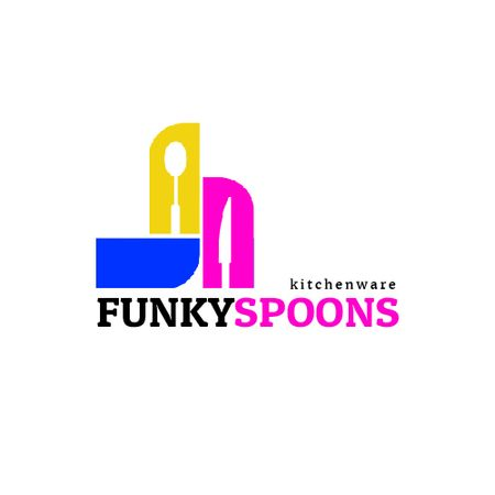 Ontwerpsjabloon van Animated Logo van Kitchenware Ad with Spoon and Knife Silhouettes