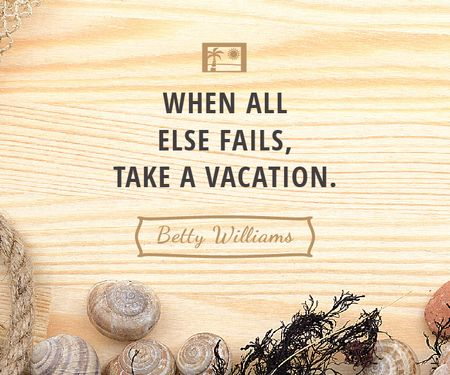 Vacation Inspiration Shells on Wooden Board Large Rectangle Design Template