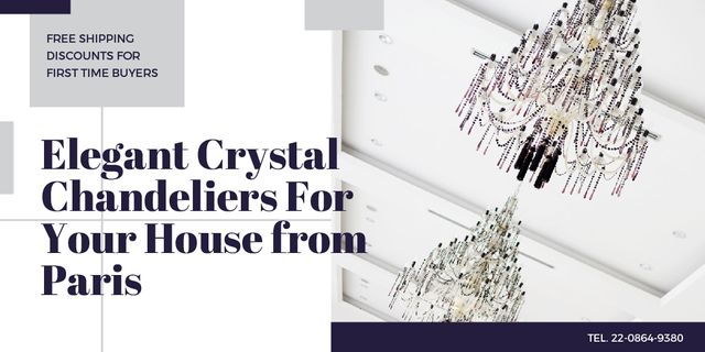 Elegant crystal chandeliers from Paris Twitter Design Template