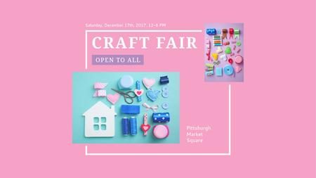 Plantilla de diseño de Craft Fair with needlework tools Title