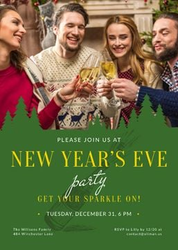 Christmas Party invitation People Toasting with Champagne