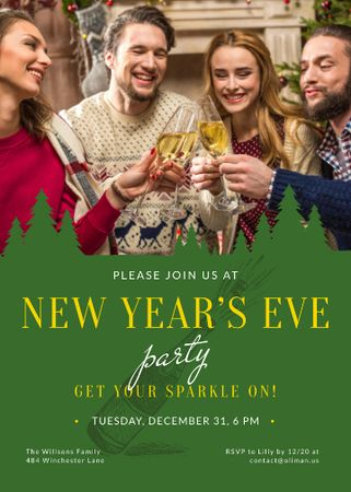 Christmas Party invitation People Toasting with Champagne Invitation Modelo de Design
