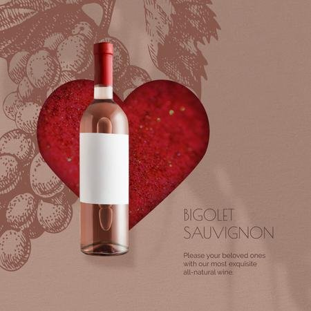 Valentine's Day Bottle of Wine on Red Heart Animated Post Modelo de Design
