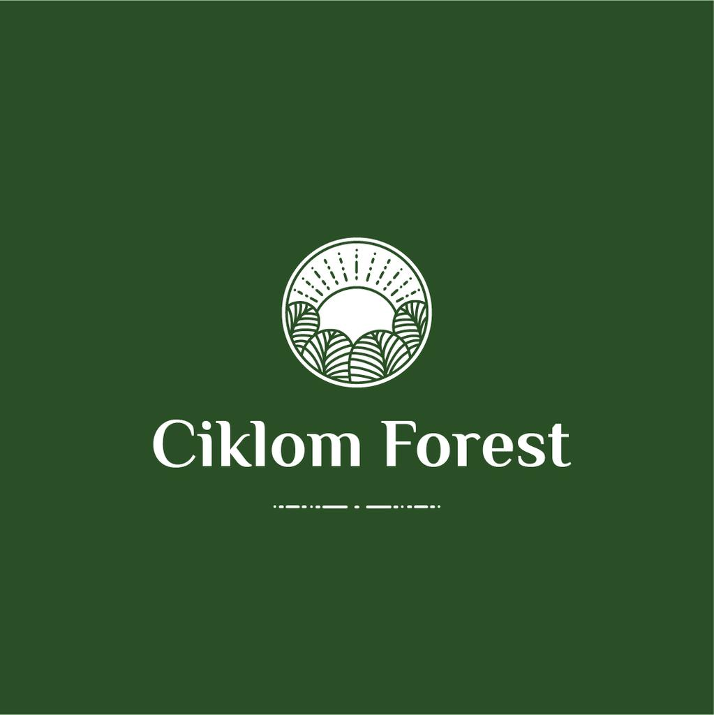 Trees in Forest Green Icon Logo – шаблон для дизайна