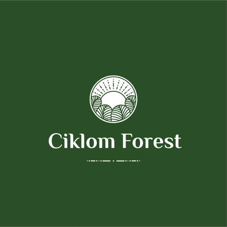 Trees in Forest Green Icon Logo Modelo de Design