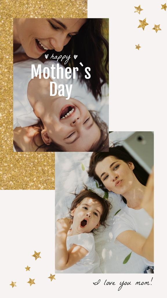 Mother's Day Greeting Smiling Mother and Daughter | Vertical Video Template — ein Design erstellen