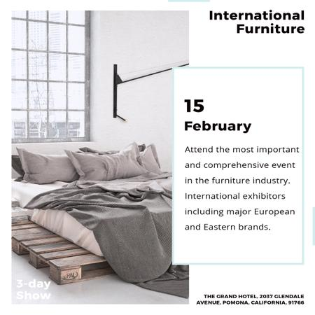 Modèle de visuel Furniture Show Bedroom in Grey Color - Instagram AD
