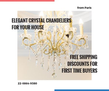 Elegant crystal chandeliers shop Medium Rectangle Design Template