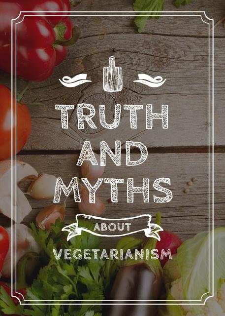 Vegetarian Food Vegetables on Wooden Table Flayer – шаблон для дизайна