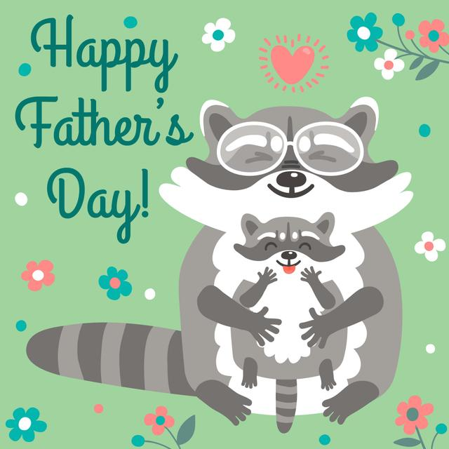Father's Day greeting with raccoons Instagram ADデザインテンプレート