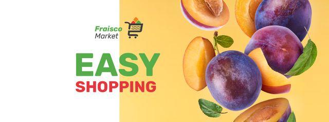 Plantilla de diseño de Grocery Sale fresh raw Plums Facebook cover