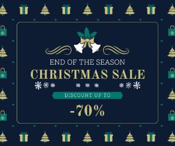 Christmas Sale Announcement Frame with Trees and Gifts