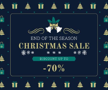 Plantilla de diseño de Christmas Sale Announcement Frame with Trees and Gifts Large Rectangle