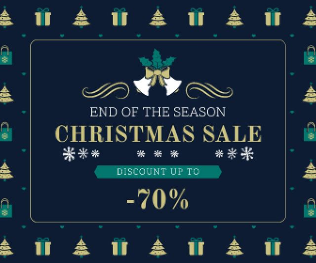 Ontwerpsjabloon van Large Rectangle van Christmas Sale Announcement Frame with Trees and Gifts