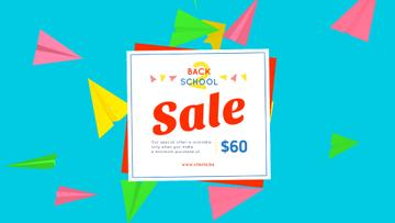 Back to School Sale Colorful Paper Planes on Blue | Full Hd Video Template