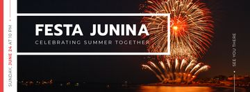 Festa Junina event with fireworks