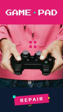 Repair Services Ad with Girl Holding Gamepad
