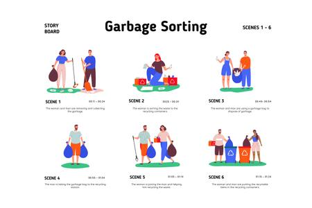 People sorting Garbage Storyboardデザインテンプレート