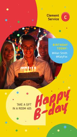 Birthday Invitation Man Blowing Candles on Cake Instagram Story Modelo de Design