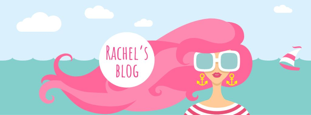 Lifestyle Blog with Woman with Pink Hair by the Sea Facebook cover – шаблон для дизайну
