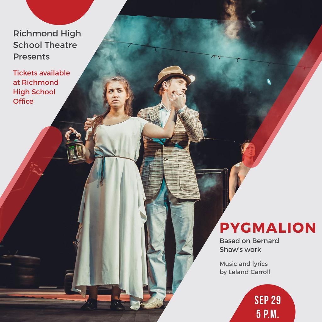 Theater Invitation Actors in Pygmalion Performance — Créer un visuel