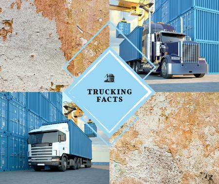 Plantilla de diseño de Trucks driving by warehouse  Facebook