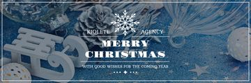 Christmas Greeting Shiny Decorations in Blue | Email Header Template