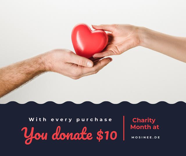 Plantilla de diseño de Charity Event Hands Holding Heart in Red Facebook