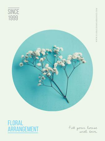 Floral arrangement services with Flower in blue Poster US Modelo de Design