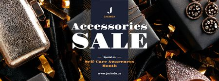 Plantilla de diseño de Self-Care Awareness Month Sale Shiny Accessories Facebook cover