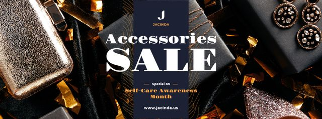 Self-Care Awareness Month Sale Shiny Accessories Facebook cover Design Template