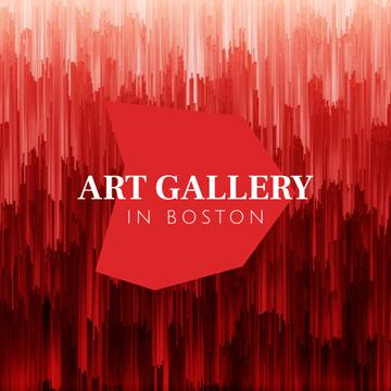 Art Gallery Promotion with Red digital lines