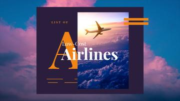 Airlines Ad Plane Flying Purple Sky