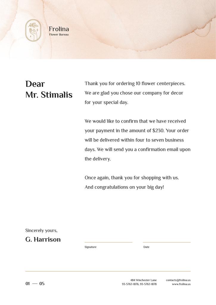 Florist company payment confirmation Letterhead Design Template