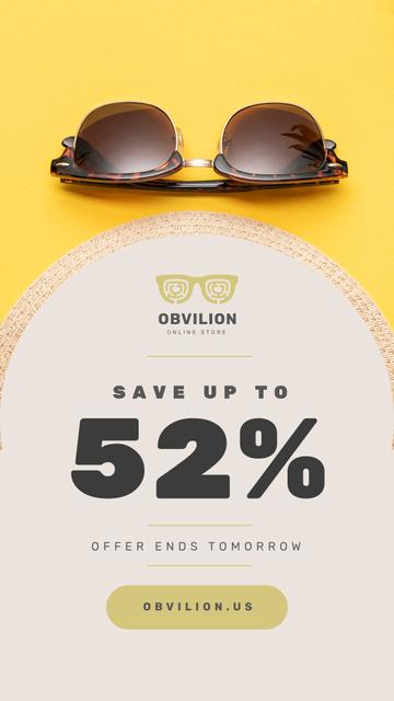 Sunglasses Sale Ad Stylish Vintage Glasses Instagram Story – шаблон для дизайна