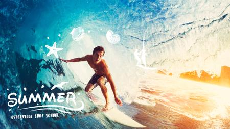 Template di design Man surfing in barrel wave Full HD video