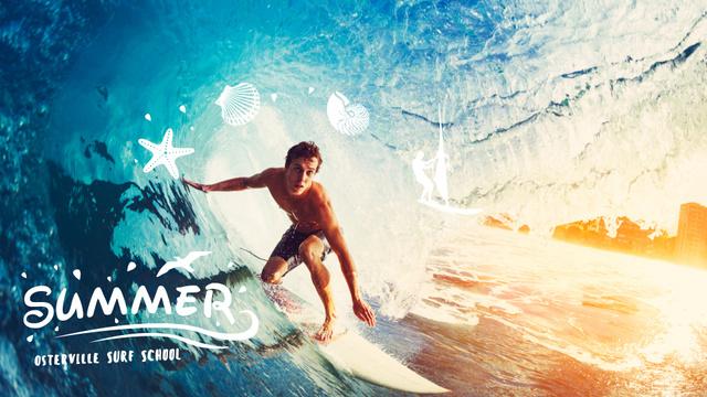 Man surfing in barrel wave Full HD video – шаблон для дизайна