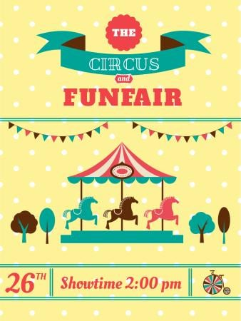 Plantilla de diseño de Circus and funfair invitation with Carousel Poster US