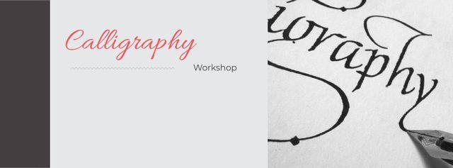 Plantilla de diseño de Calligraphy workshop Invitation Facebook cover