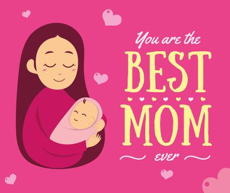 Ontwerpsjabloon van Facebook van Mom holding baby on Mother's Day