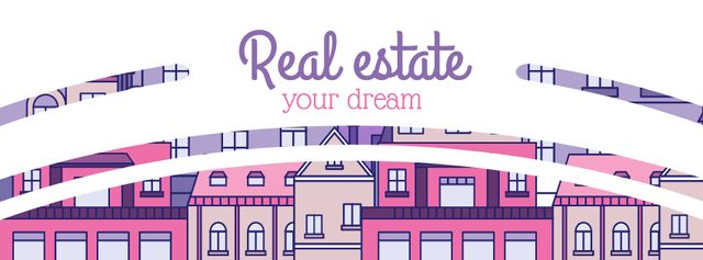Real Estate Ad with Modern Buildings Facebook coverデザインテンプレート