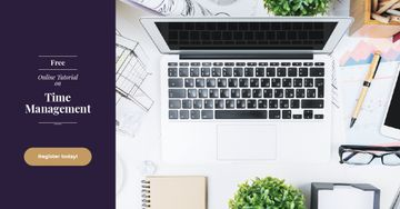 Online Courses Ad Working Table with Laptop | Facebook Ad Template