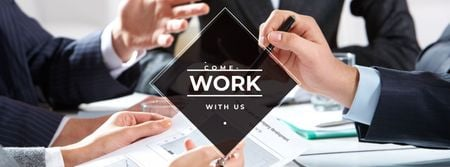 Template di design Business people working together at office Facebook cover