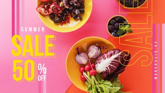Plantilla de diseño de Seasonal Menu Fresh Vegetables in Bowls Title